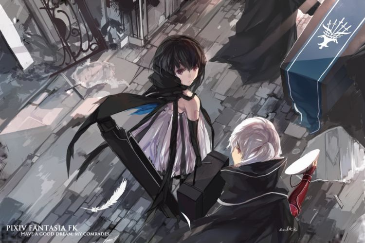 black hair cape dress elbow gloves feathers gray hair pixiv fantasia purple eyes red eyes signed swd3e2 tears wallpaper