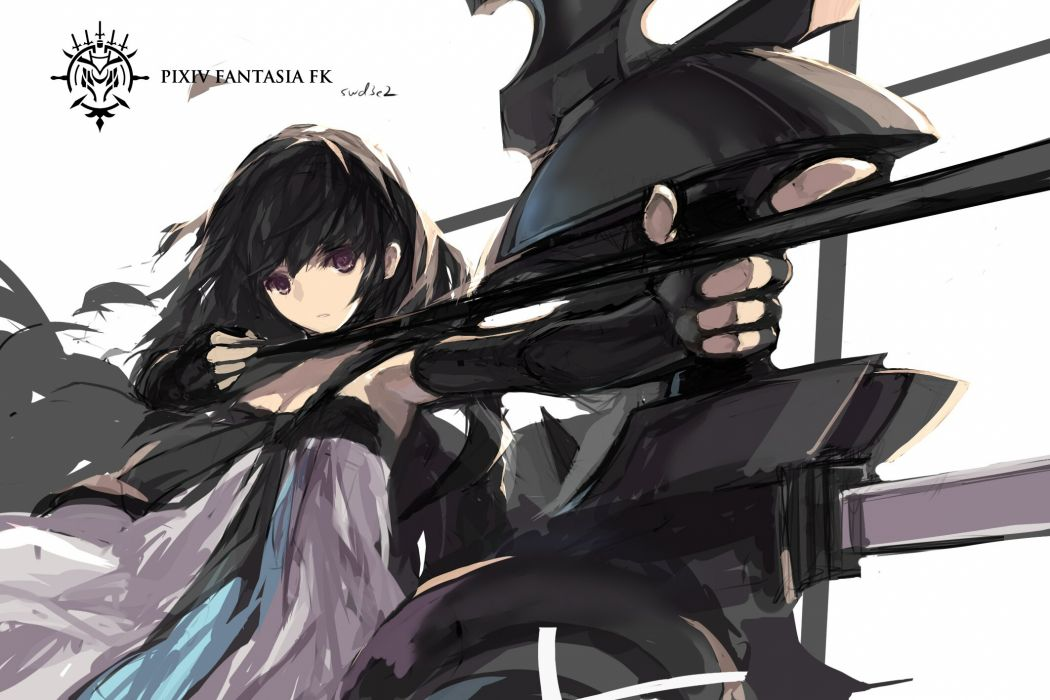 Black Hair Bow Weapon Cape Dress Elbow Gloves Gloves