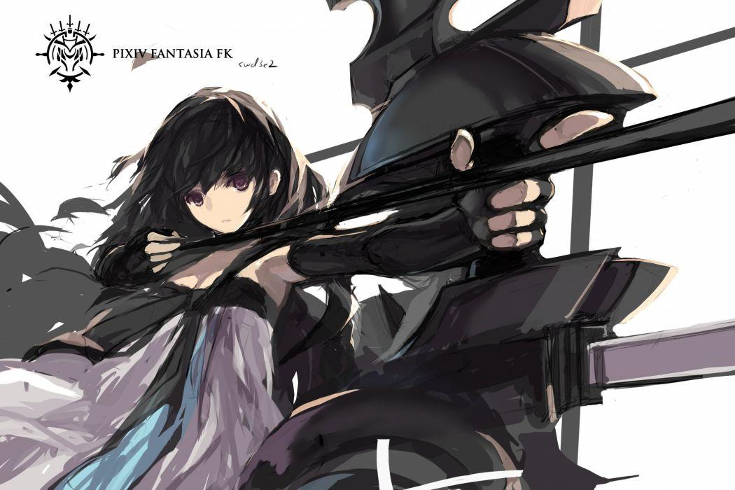 black hair bow (weapon) cape dress elbow gloves gloves pink eyes pixiv fantasia short hair swd3e2 weapon wallpaper