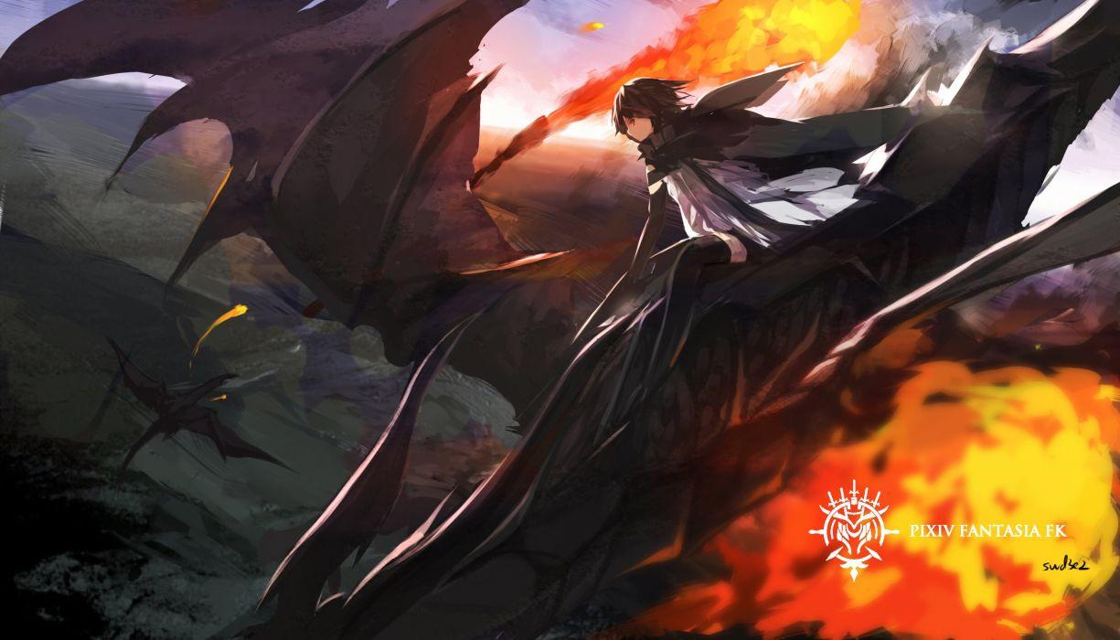 black hair cape dragon dress elbow gloves fire pixiv fantasia short hair swd3e2 thighhighs wallpaper