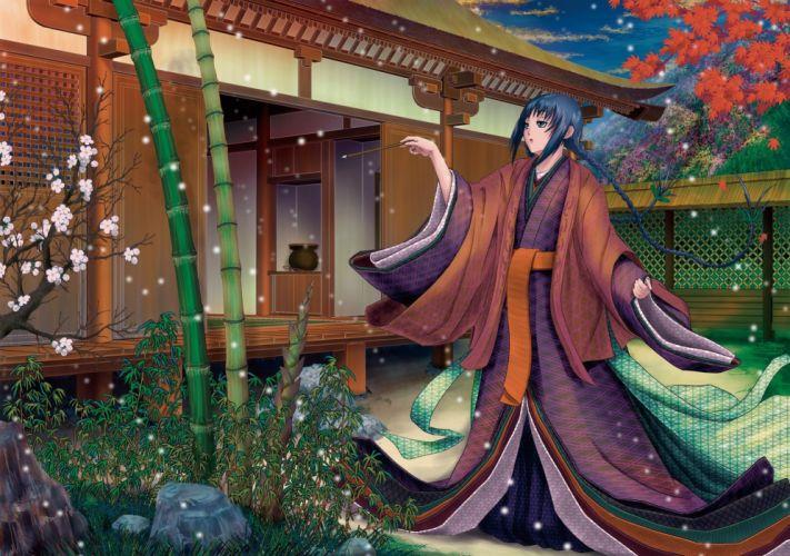 black hair braids flowers japanese clothes kimono long hair manabu adachi wallpaper