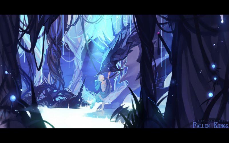 blonde hair blue dragon dress joseph lee pixiv fantasia wallpaper