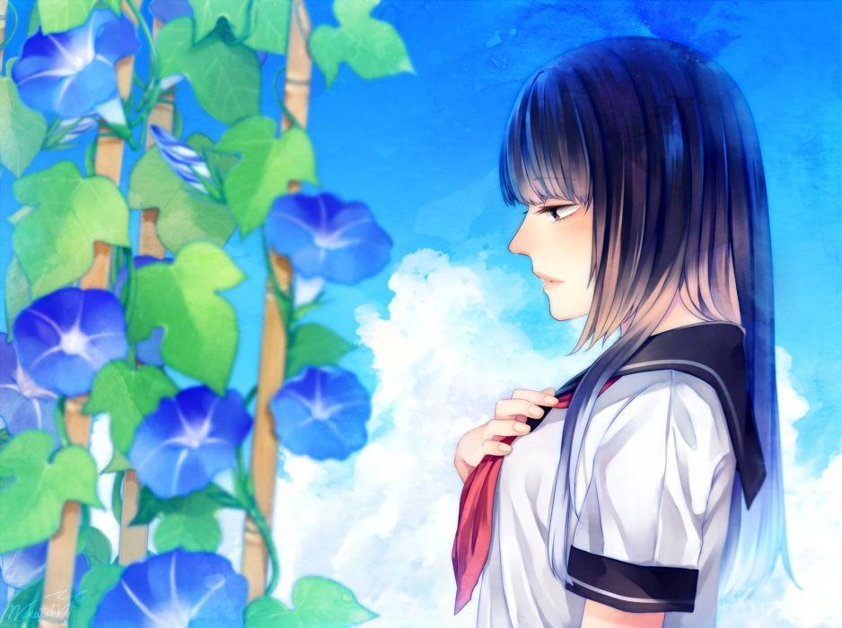black hair original seifuku wakatsuki you wallpaper
