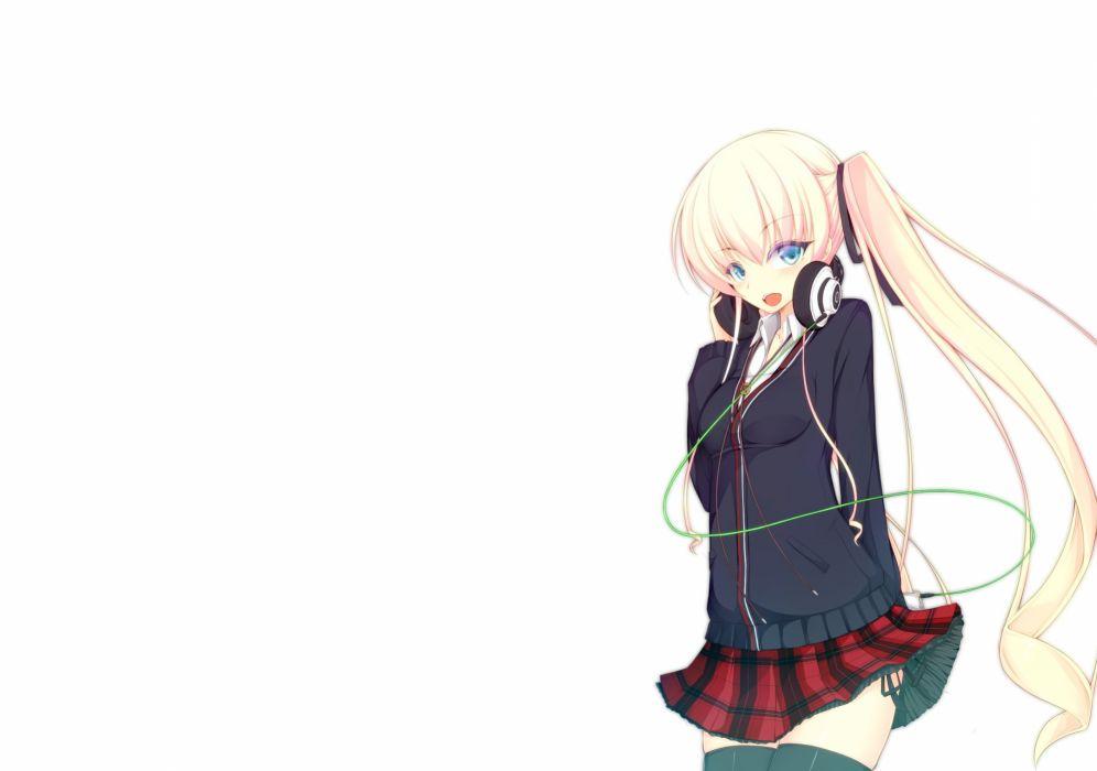blonde hair blue eyes blush headphones jougen long hair original seifuku thighhighs twintails wallpaper