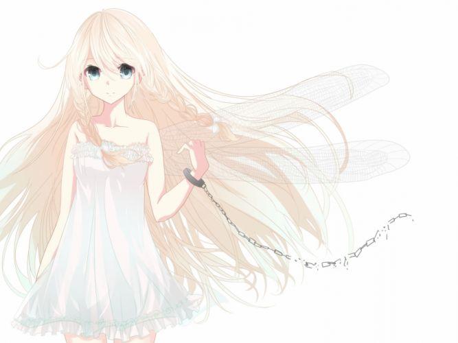 blonde hair blue eyes braids chain dress ia long hair ren-0 shackles vocaloid white wings wallpaper