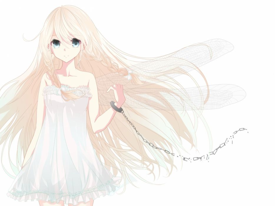 blonde hair blue eyes braids chain dress ia long hair ren-0 shackles vocaloid white wings wallpaper