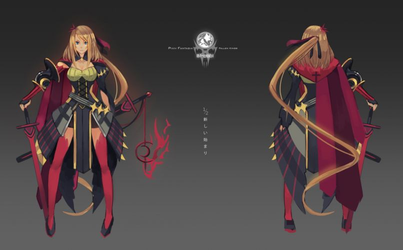 blonde hair blue eyes breasts cape cleavage long hair pixiv fantasia sword thighhighs tsubasa19900920 weapon wallpaper