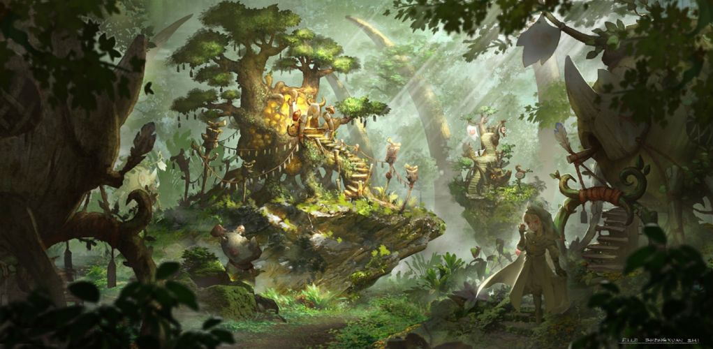 blonde hair building forest lost elle pixiv fantasia red eyes stairs tree wallpaper
