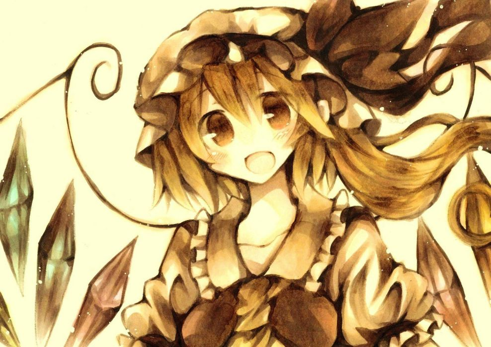 blonde hair flandre scarlet red eyes touhou wings wiriam07 wallpaper