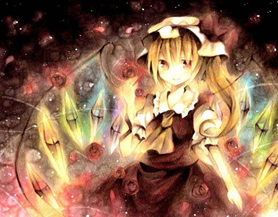 blonde hair dress flandre scarlet flowers hat red eyes rose touhou wings wiriam07 wallpaper