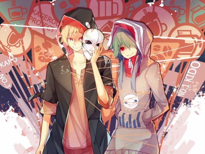 blonde hair green hair kagerou project kano shuuya kido tsubomi long hair male mask rain lan red eyes wallpaper