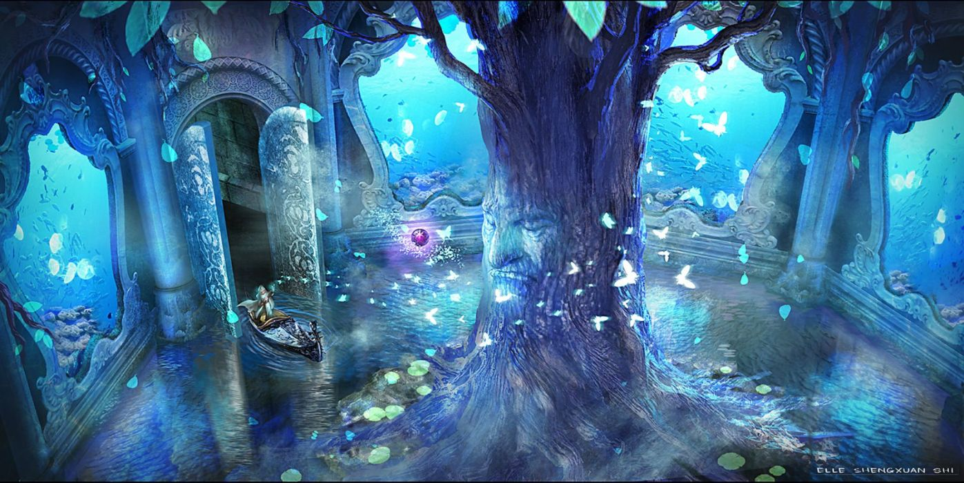 blue boat butterfly lost elle original pixiv fantasia scenic tree water wallpaper