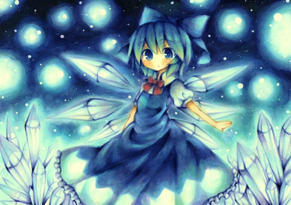 blue blue eyes blue hair cirno dress short hair snow touhou wings wiriam07 wallpaper
