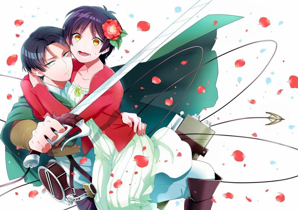 Anime Girls Shingeki No Kyojin Eren Yeager Levi Shingeki No Kyojin Swords Hug Wallpaper 2000x1412 340636 Wallpaperup