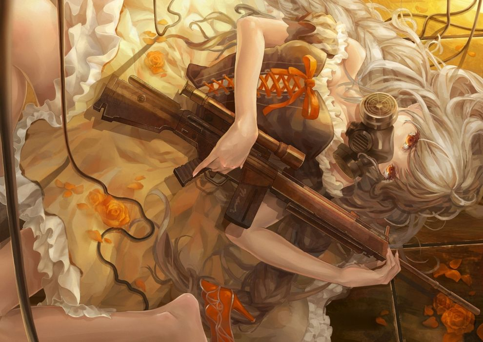 Assault rifle Piyotama Blonde girl Gas mask Dress Anime Girls original   g wallpaper