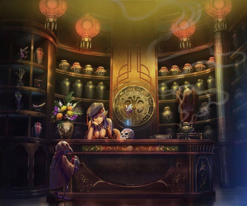blue hair book breasts cleavage fairy hat iceojin long hair pixiv fantasia pointed ears red eyes skull wallpaper