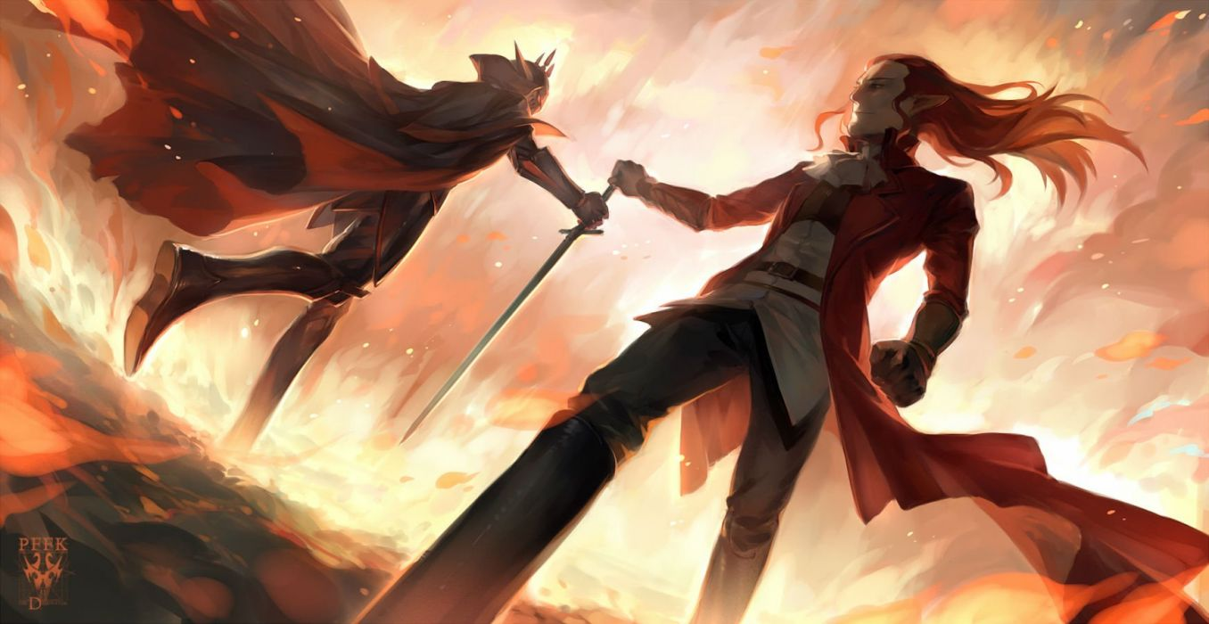 boots cape long hair male pixiv fantasia pointed ears red hair sword weapon yew5fish wallpaper