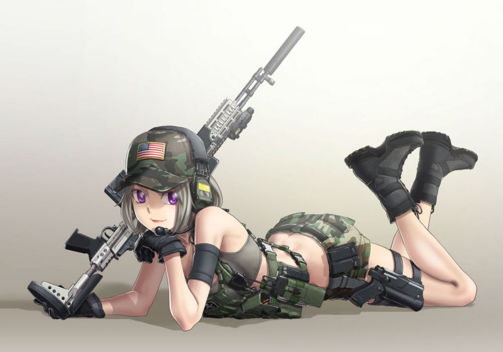 boots gloves gun hat headphones kws military original purple eyes short hair shorts uniform weapon wallpaper