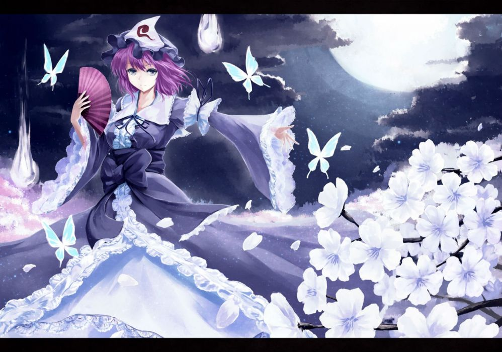 bow butterfly cherry blossoms fan flowers hat kz nagomiya moon night petals purple eyes purple hair saigyouji yuyuko short hair touhou wallpaper