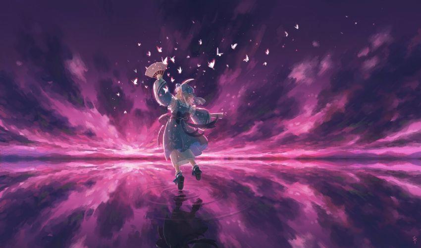 butterfly fan japanese clothes pink hair saigyouji yuyuko seeker short hair touhou water wallpaper