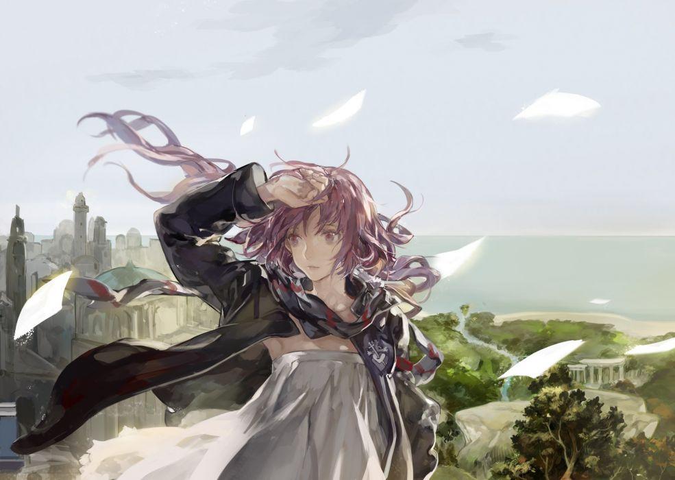 building dress ibaraki long hair paper pink eyes pink hair pixiv fantasia scarf wallpaper