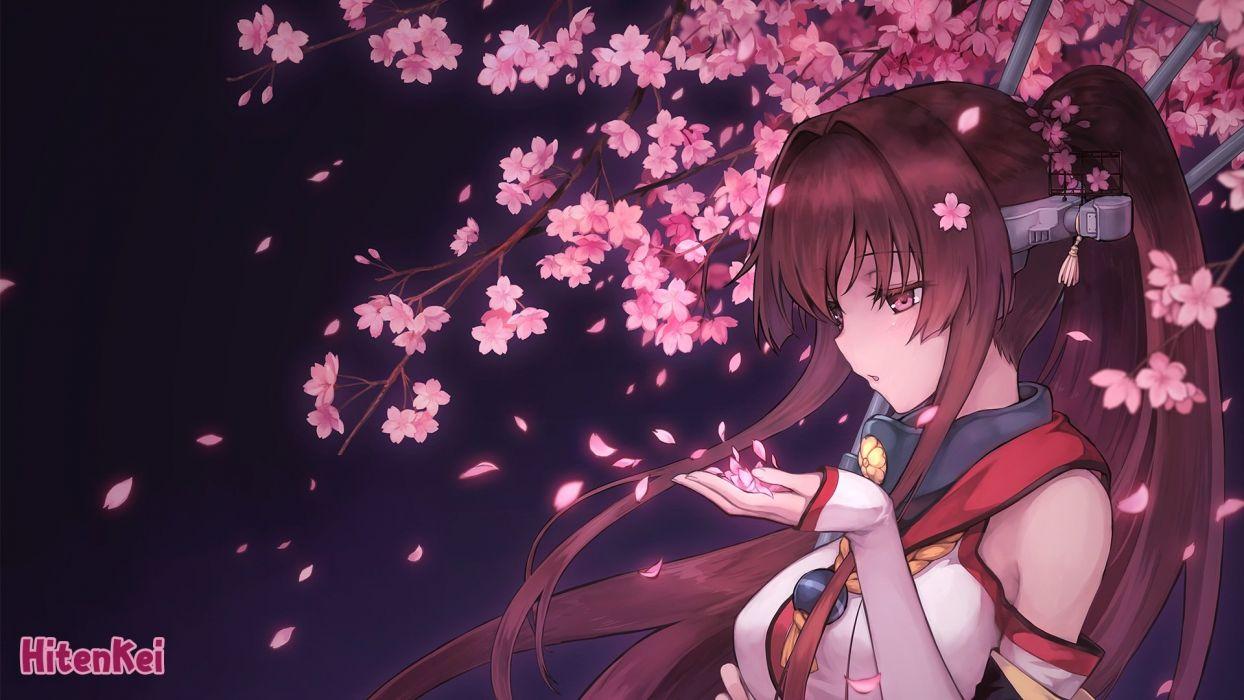 brown hair cherry blossoms hiten goane ryu kantai collection long hair petals pink eyes ponytail yamato (kancolle) wallpaper