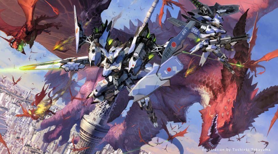 city dragon gun mecha original takayama toshiaki weapon wallpaper