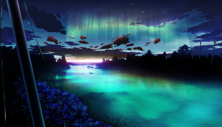 clouds flowers landscape night nobody original scenic sky water y-k wallpaper