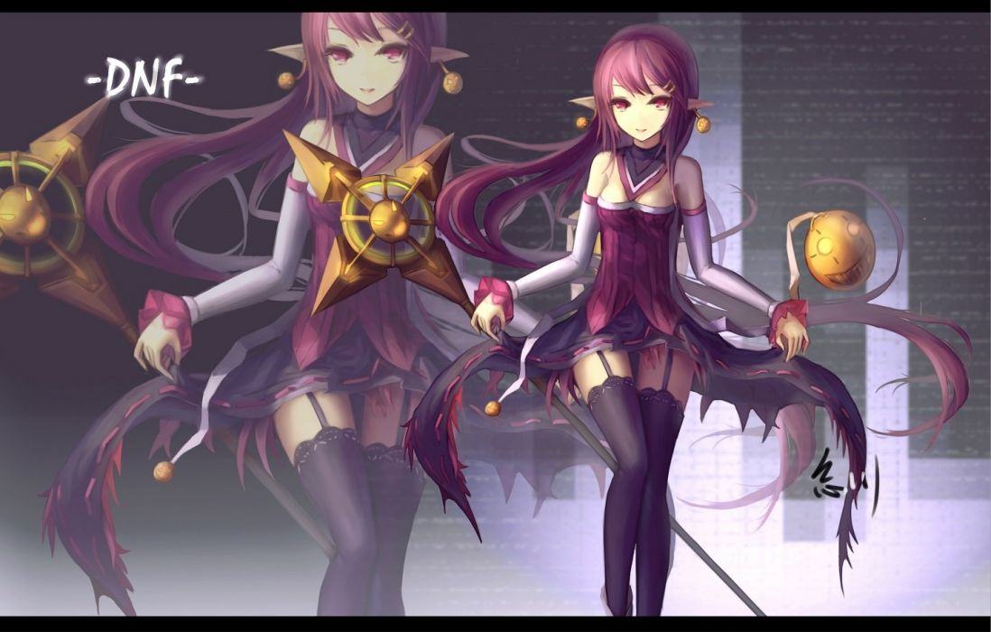 dress dungeon and fighter garter belt hc long hair pink eyes pink hair pointed ears staff stockings thighhighs zoom layer wallpaper