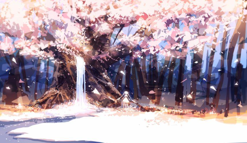 forest leaves original petals prophet heart tree twintails water waterfall wallpaper
