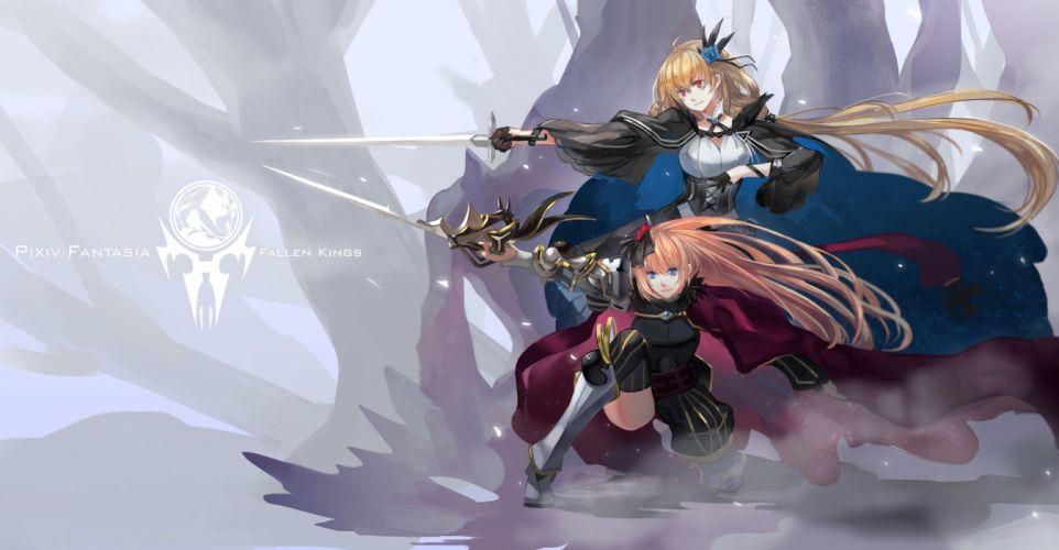 girls armeechef armor blonde hair blue eyes cape jpeg artifacts pixiv fantasia red eyes sword tsubasa19900920 weapon wallpaper