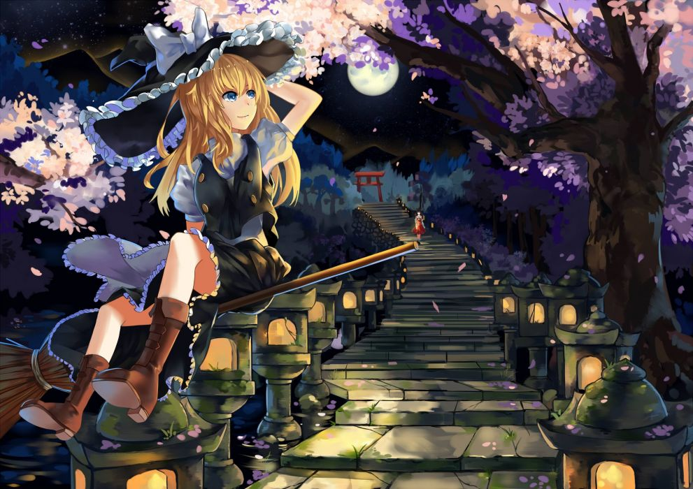 girls blonde hair blue eyes boots cherry blossoms dress hakurei reimu hat long hair moon night petals stairs torii touhou tree witch hat wallpaper