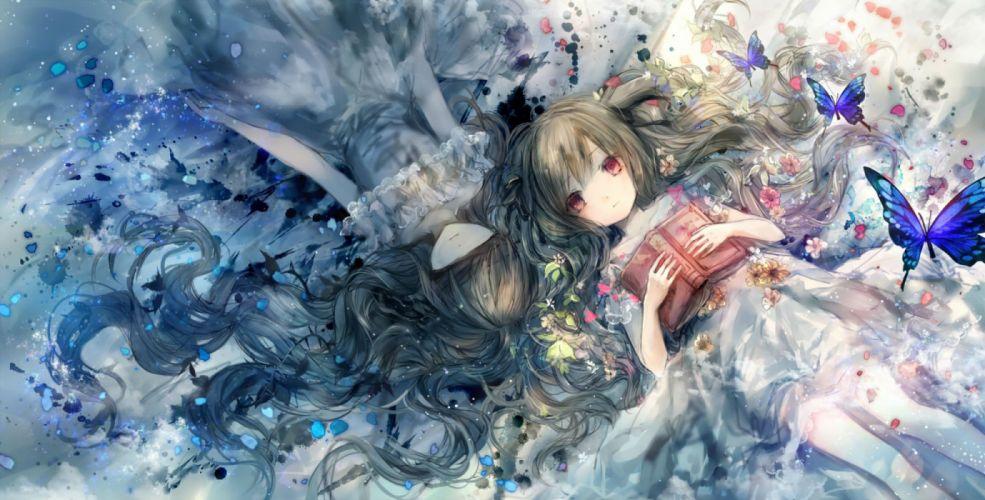 girls book brown hair butterfly dress loli long hair onineko original petals red eyes wallpaper
