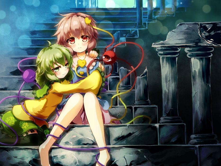 girls gengetsu chihiro green eyes green hair hug komeiji koishi komeiji satori pink hair thighhighs touhou wallpaper