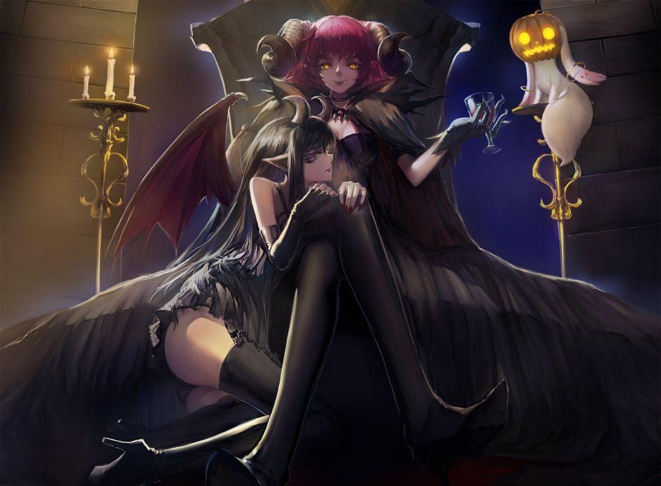 mahou shoujo madoka magica halloween horns two throne anime girls