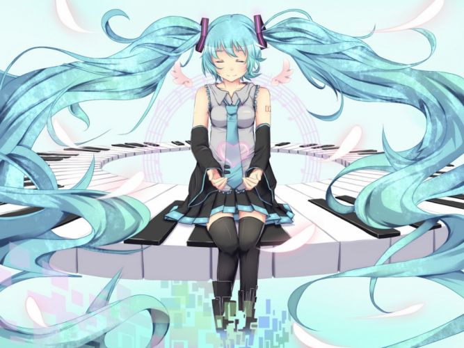 Vocaloid Hatsune Miku Hair Necktie Sitting Anime Girls wallpaper