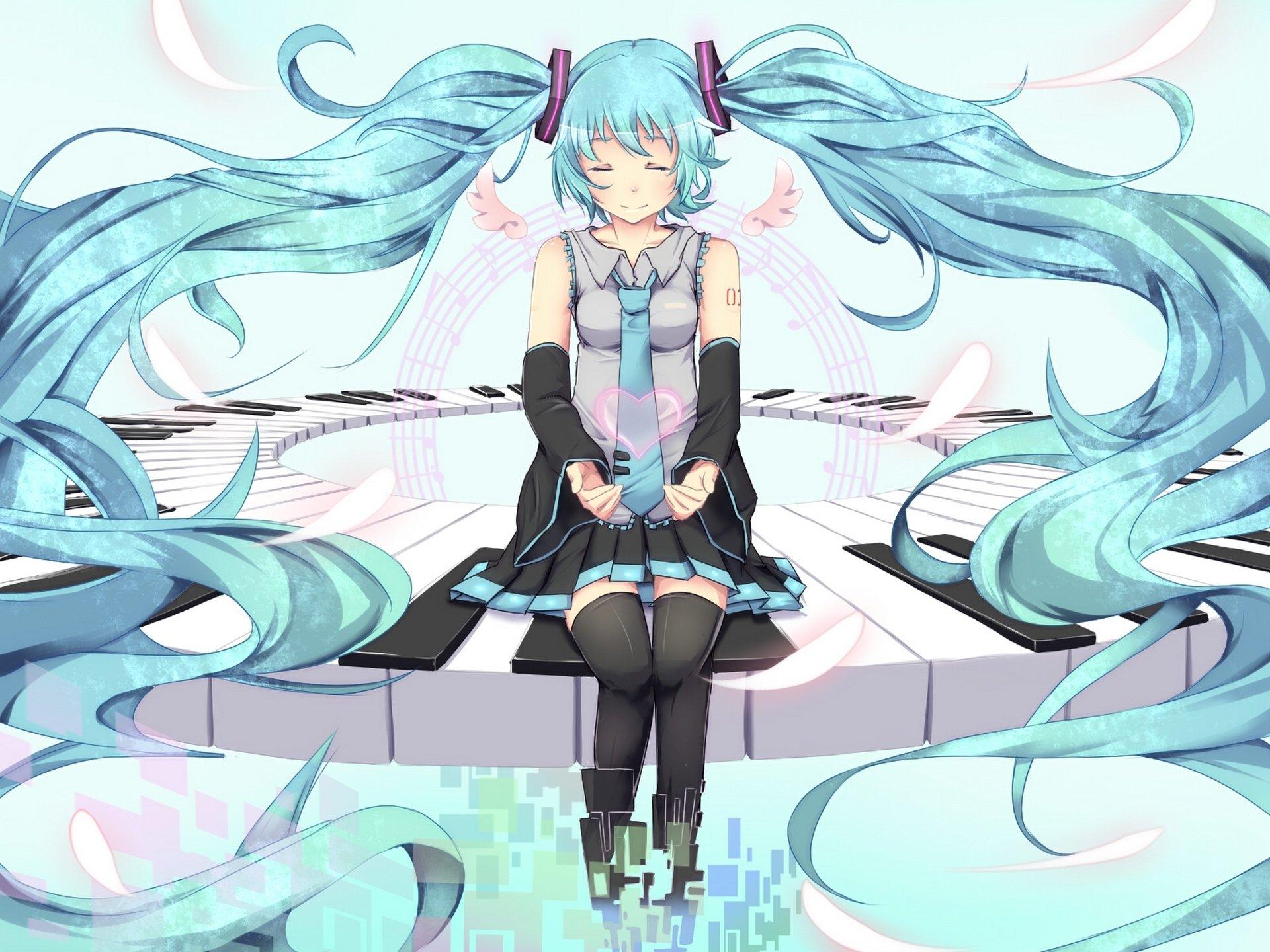 Vocaloid hatsune miku hair necktie sitting anime girls wallpaper 1920x1440 341006 wallpaperup