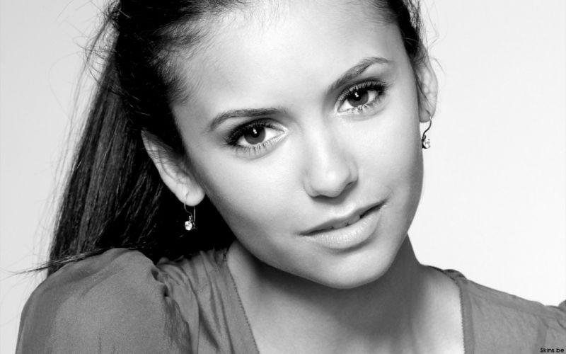 grayscale Nina Dobrev monochrome faces wallpaper