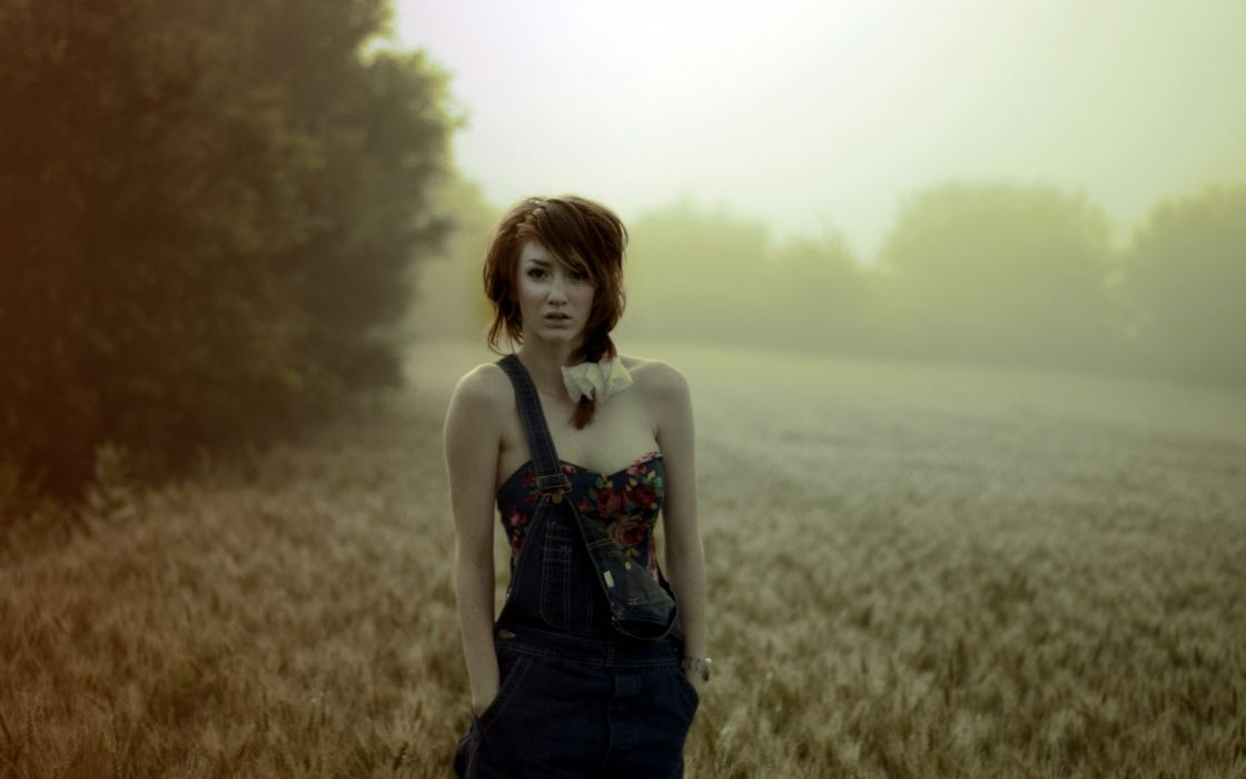 women nature redheads fields blurred wallpaper