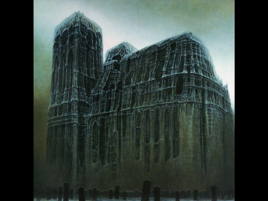 artwork cathedrals Zdzislaw Beksinski wallpaper
