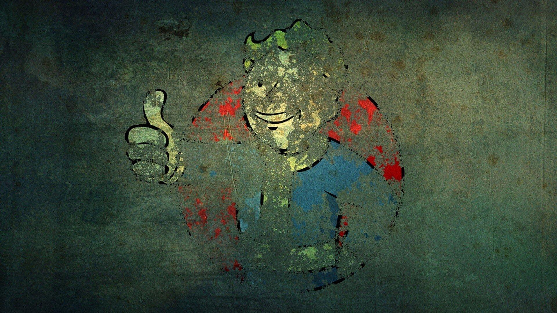 Video Games Fallout Grunge Vault Boy Wallpaper 1920x1080