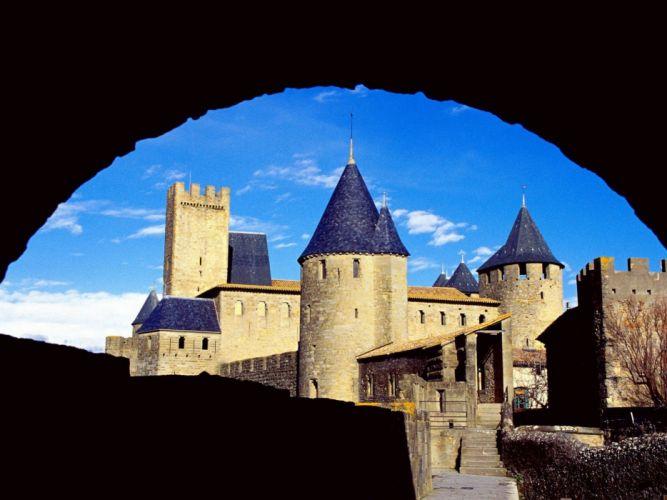 castles France buildings Carcassonne cities Chateau wallpaper