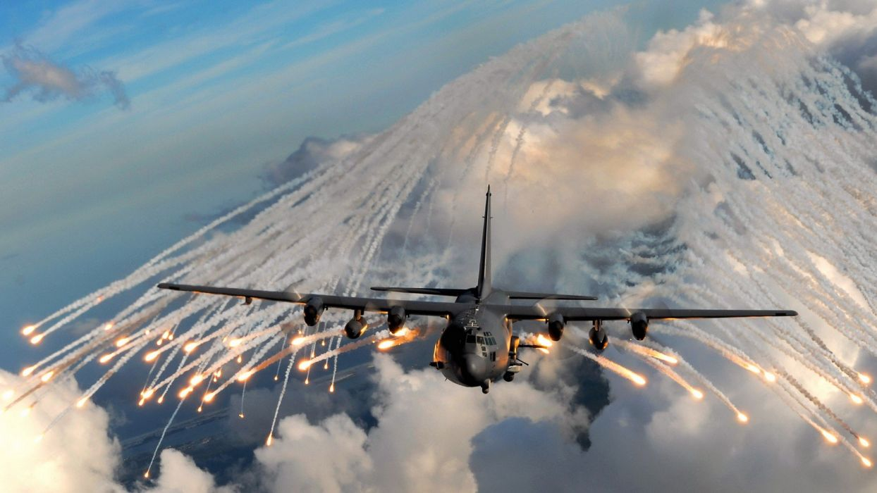 clouds aircraft war flares contrails skyscapes attack wallpaper