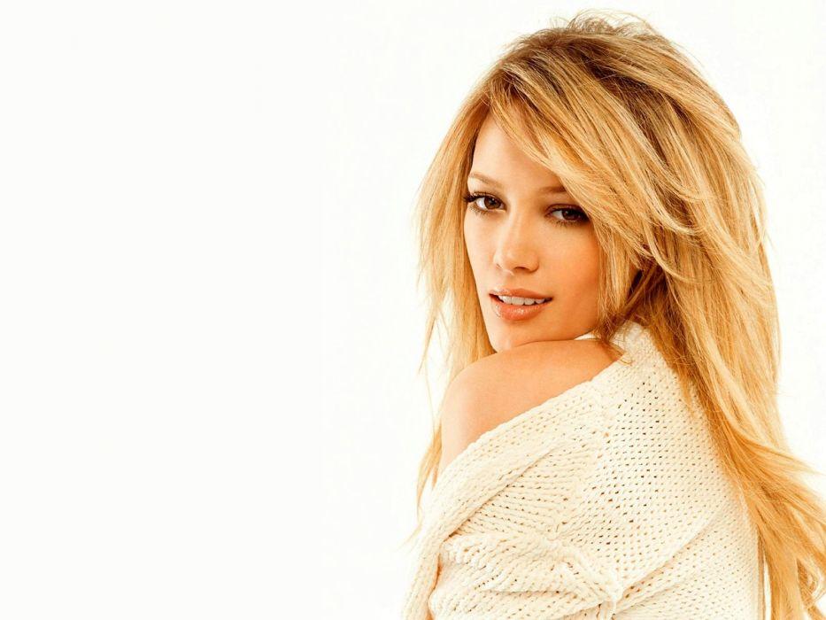 blondes women Hilary Duff celebrity white background wallpaper