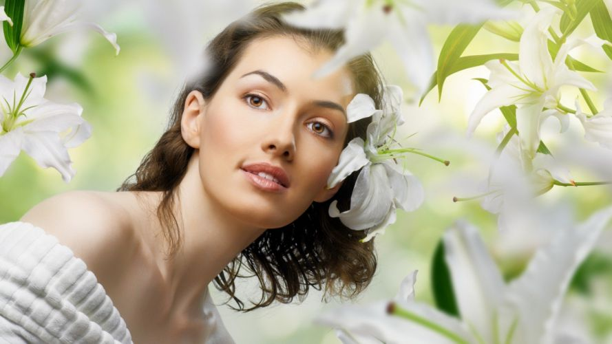 brunettes women nature eyes flowers models wallpaper