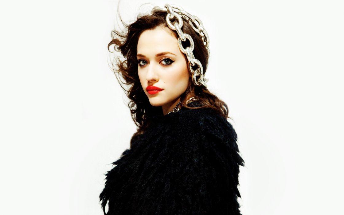 brunettes women actress celebrity Kat Dennings faces wallpaper