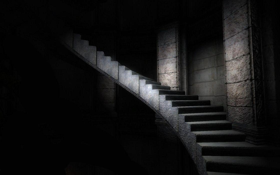 stairways monochrome wallpaper