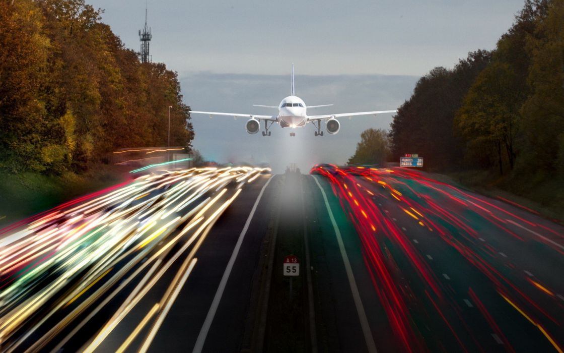 aircraft highways long exposure photo manipulation wallpaper