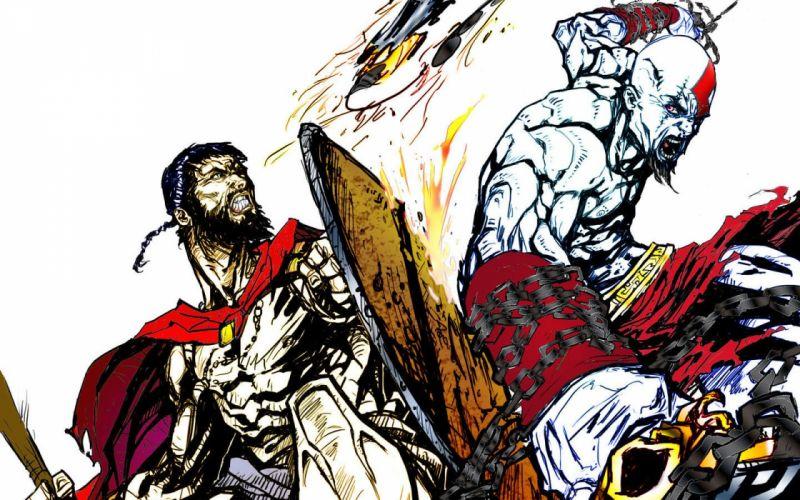 fight God of War Kratos leonydus wallpaper