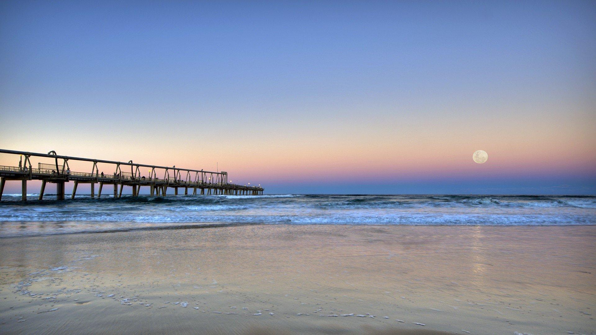 Sunset ocean landscapes nature moon australia sea beaches for Sfondi spiagge hd